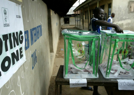 Ibrahim cast his votes for representatives in state legislature and governor in Lagos Nigeria on Saturday April 14, 2007